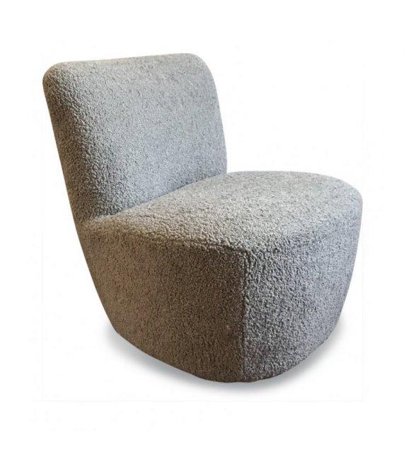 Fauteuil Eve doudou imitation fourrure ciment (L.58xP.72,5xH.71cm) - Opjet